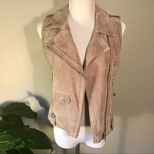 Blank NYC Tan Suede Leather Moto Vest Small